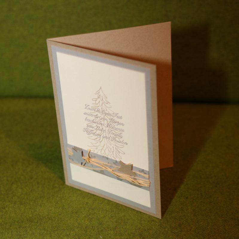 Weihnachtskarte Tanne mit Sternen