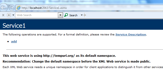 Creating a simple dot net web service. (2/4)
