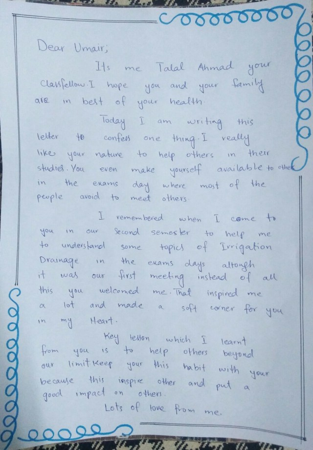 Gratitude Letter. Today I wrote a gratitude letter to one  by