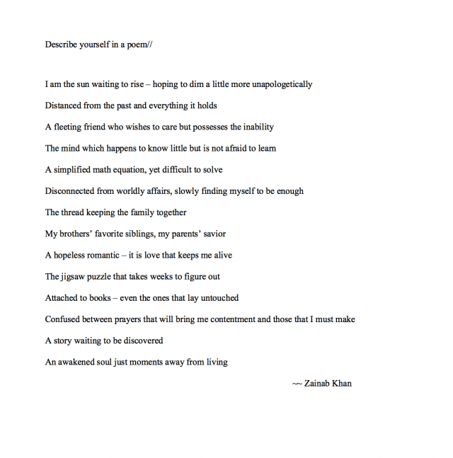 Describe Yourself In A Poem. Describe yourself in a poem//  by