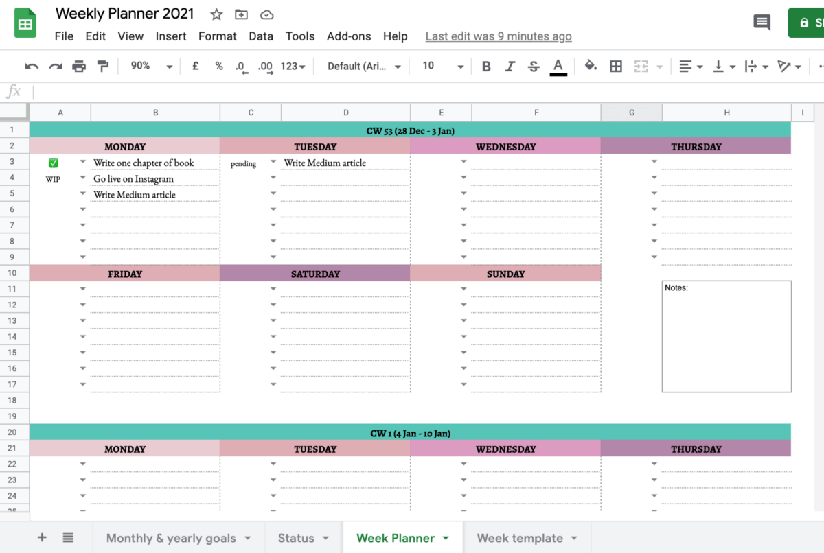 Sharing in google docs lets you collaborate on documents, spreadsheets,. Simple Weekly Google Sheets Planner 2021 Free Template By Gracia Kleijnen Google Sheets Geeks Medium