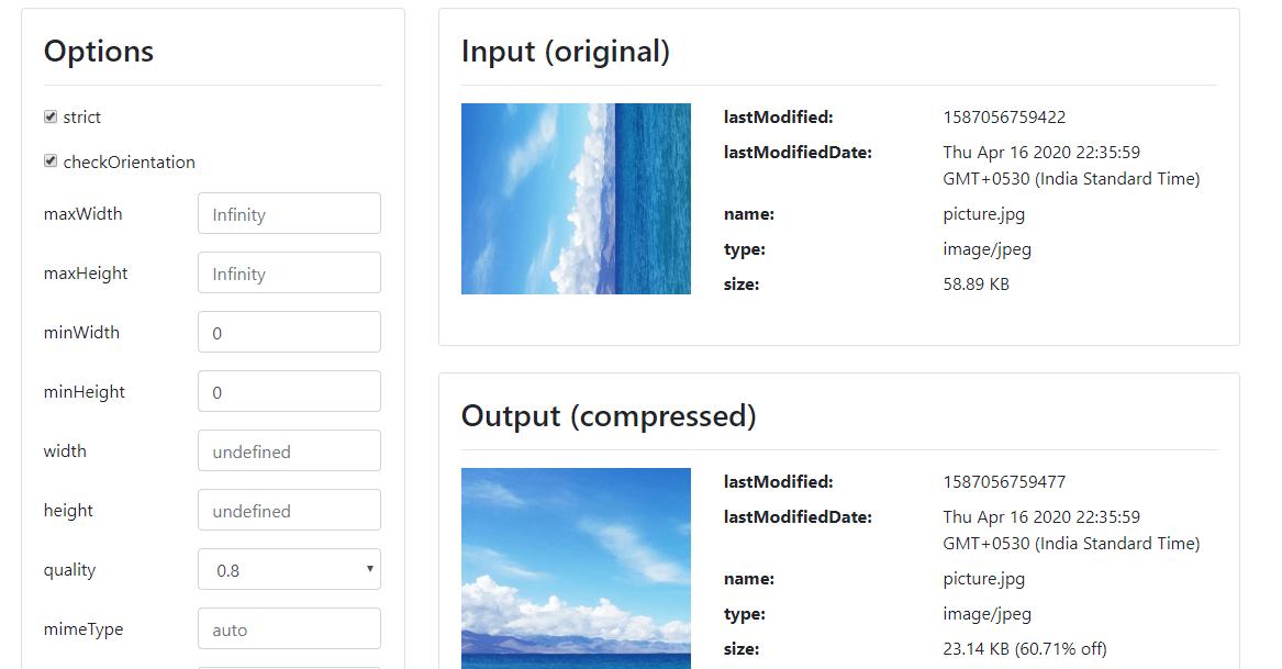 10 library javascript untuk manipulasi gambar Compressor.js