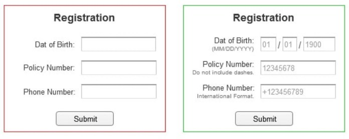 Registration form, two examoples
