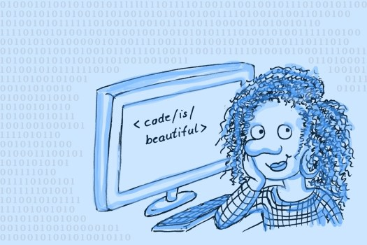 """Woman sitting in front of computer screen showing """"<code/is/beautiful>"""""""