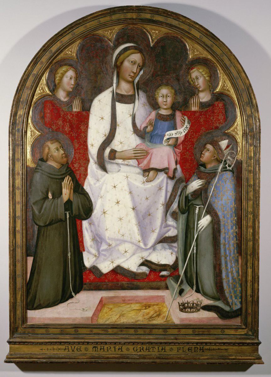 Painting of Madonna and child flanked by saints in an arched frame.