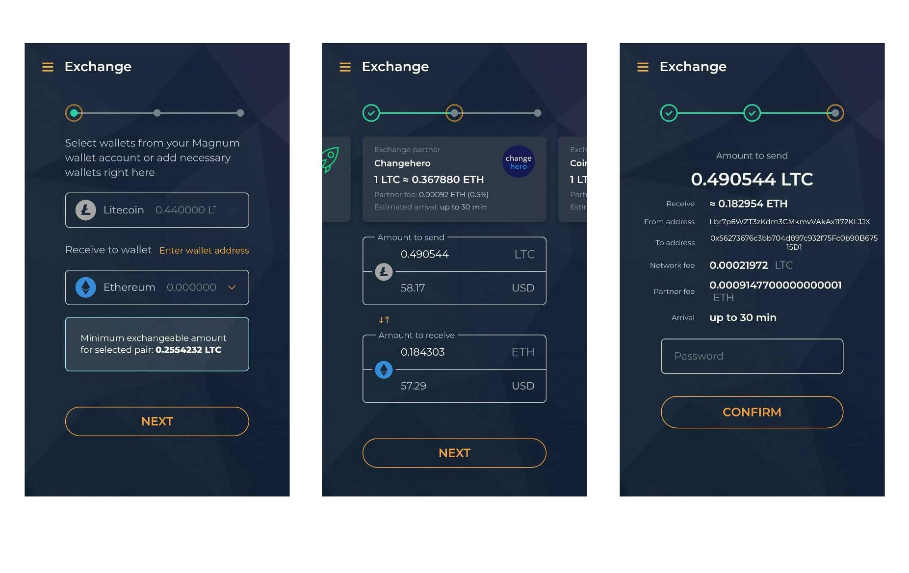 Magnum wallet exchange UI on mobile devices
