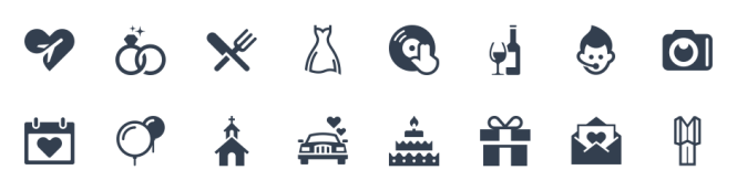 Use Icons To Create Simplistic Yet Beautiful Wedding