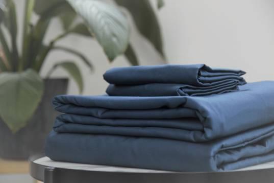Navy blue sateen Kapsas duvet cover, bed sheet and pillowcases