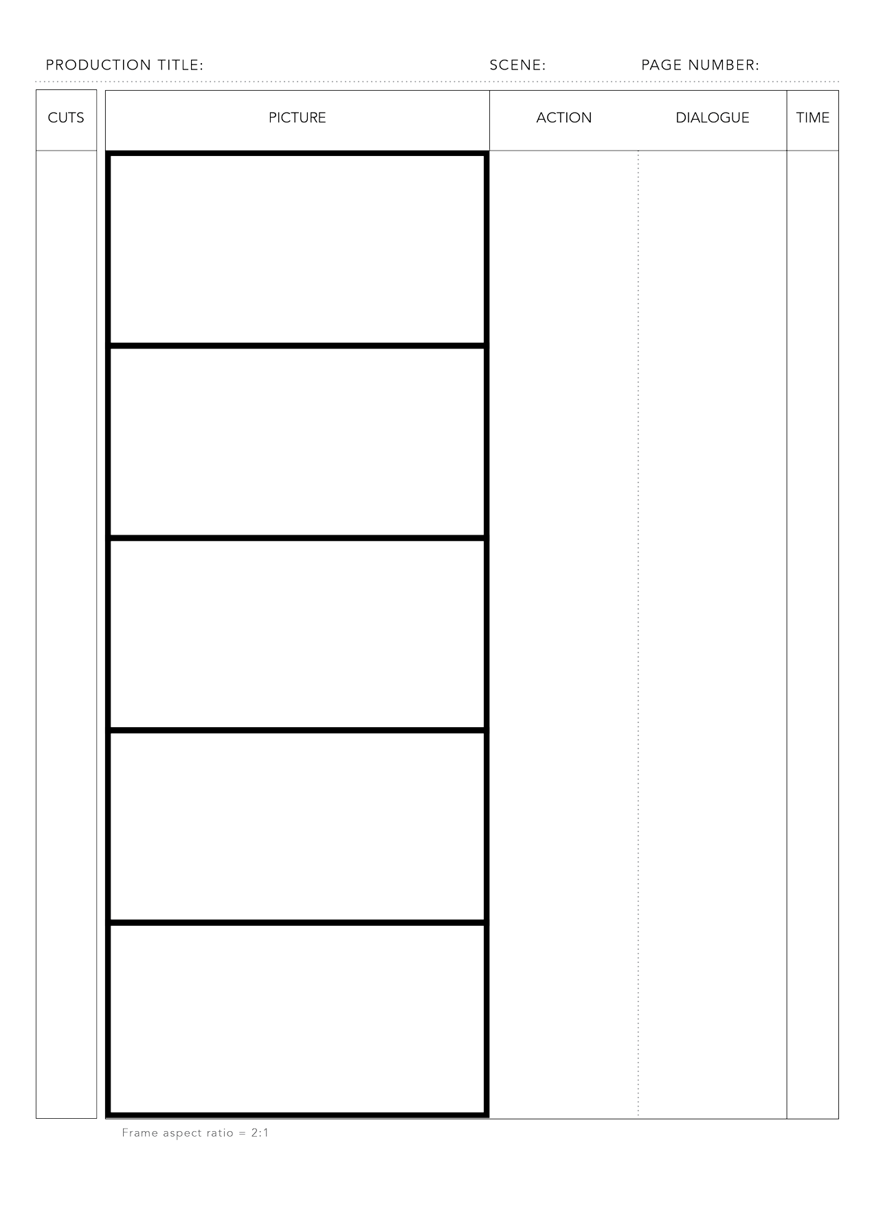Effortless Printable Storyboard