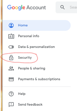 Screenshot of Google account options