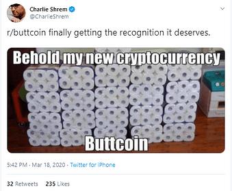 Charlie Shrem's fun tweet on Buttcoin