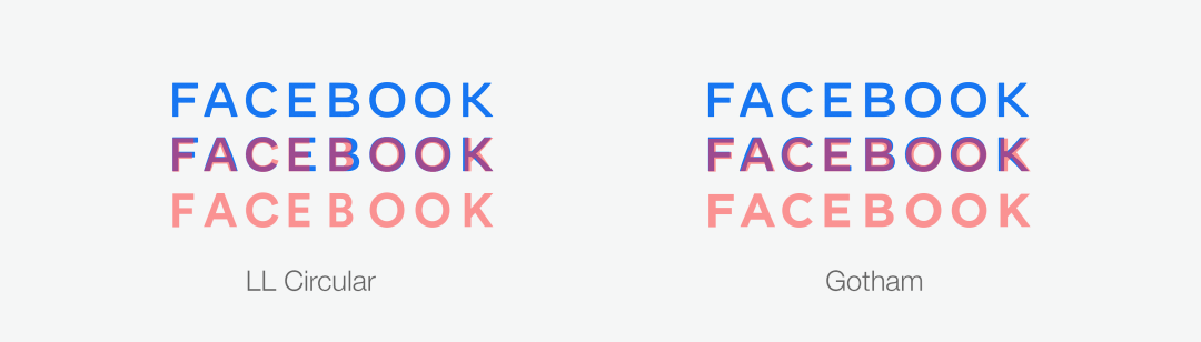 Facebook logo typgraphy compared with LL Circular and Gotham font