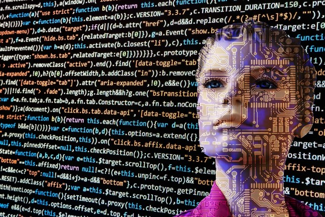 Computer code is overlaid on top of a black background and a closeup of a woman's face