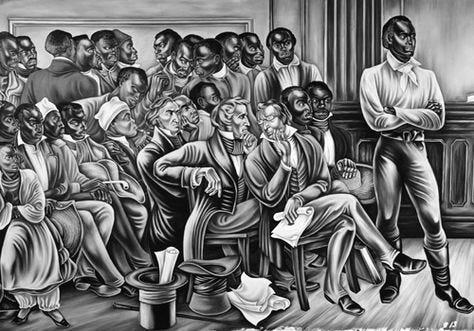 """""""Trial of the Slaves"""", el segundo panel de los murales Amistad del artista Hale Woodruff, pintado para Talladega College en Alabama en 1938."""
