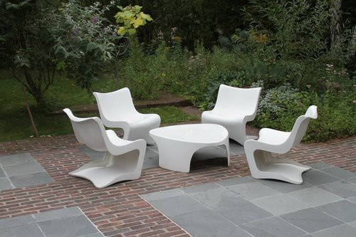 salon de jardin pvc blanc style moderne