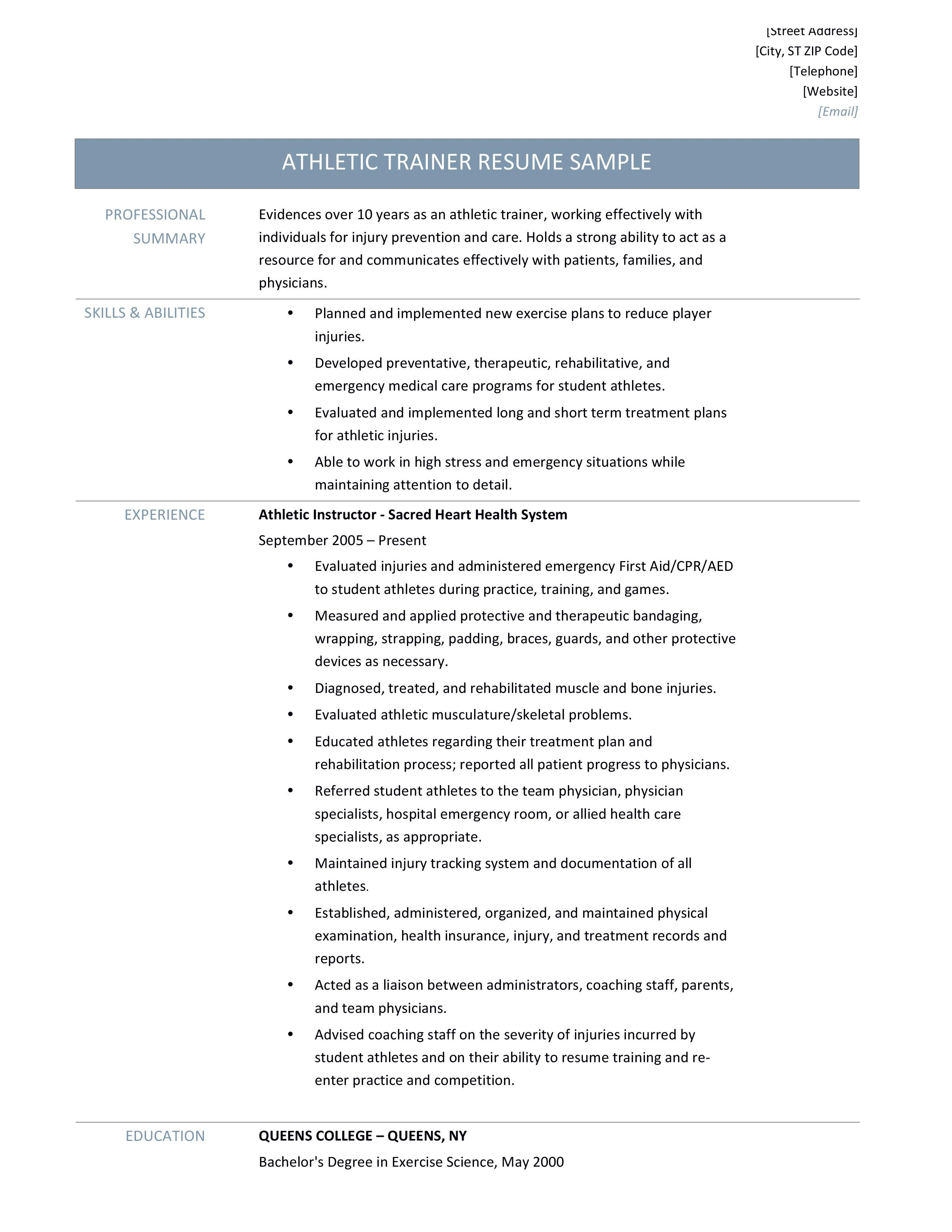 Athletic Trainer Resume Samples Tips And Templates