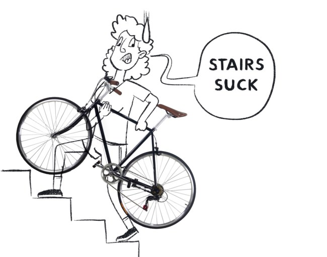 """Girl climbing stairs with a carrying a bike and saying """"stairs suck""""."""