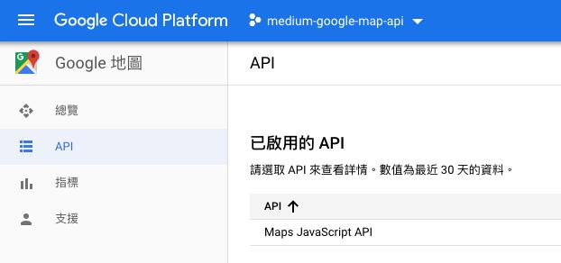 確認Maps JavaScript API是啟用的