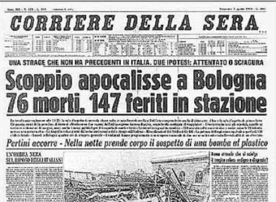 La prima pagina del Corriere della Sera il 3 agosto 1980, all'indomani della strage di Bologna.