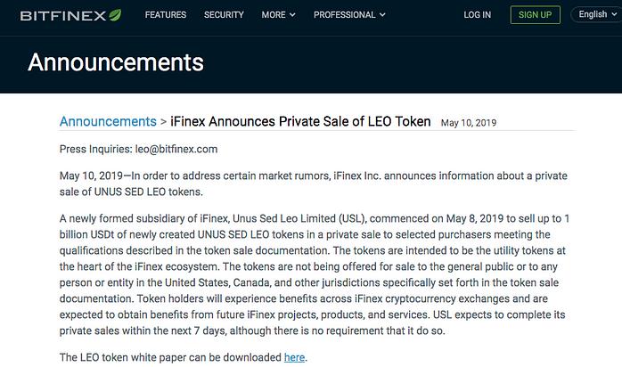 Bitfinex LEO token sale announcement