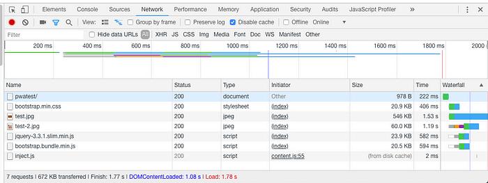 沒有用cache,頁面重新整理了三次,第三次的network的記錄