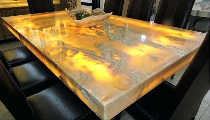 custom natural stone slab dining tables