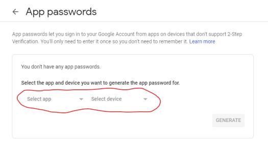 Screenshot of app password manager