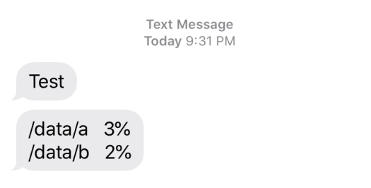 A screenshot of text messages