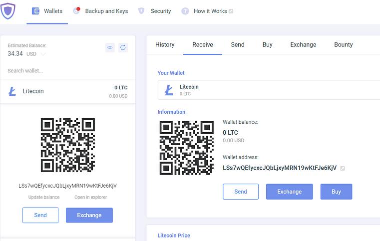 Guarda wallet user interface