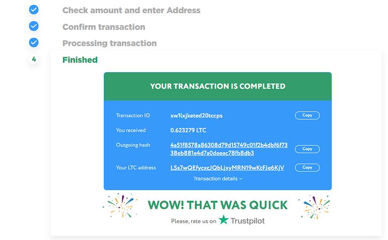 Successful transaction screen on ChangeHero