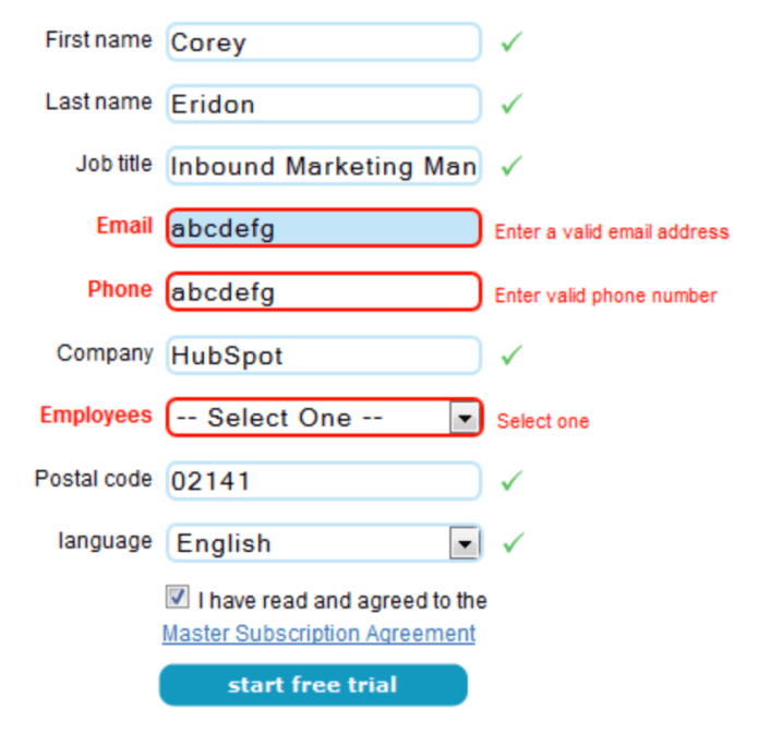 registration form — example of fields validation