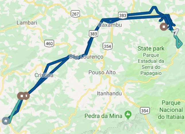 Mapa da rota percorrida pelo caminhão