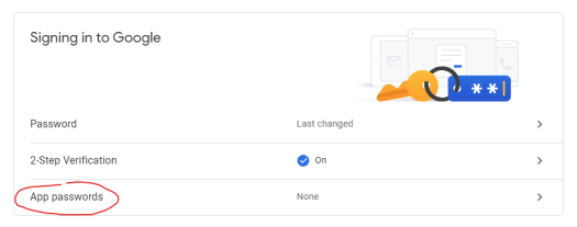 Screenshot of Google account security options
