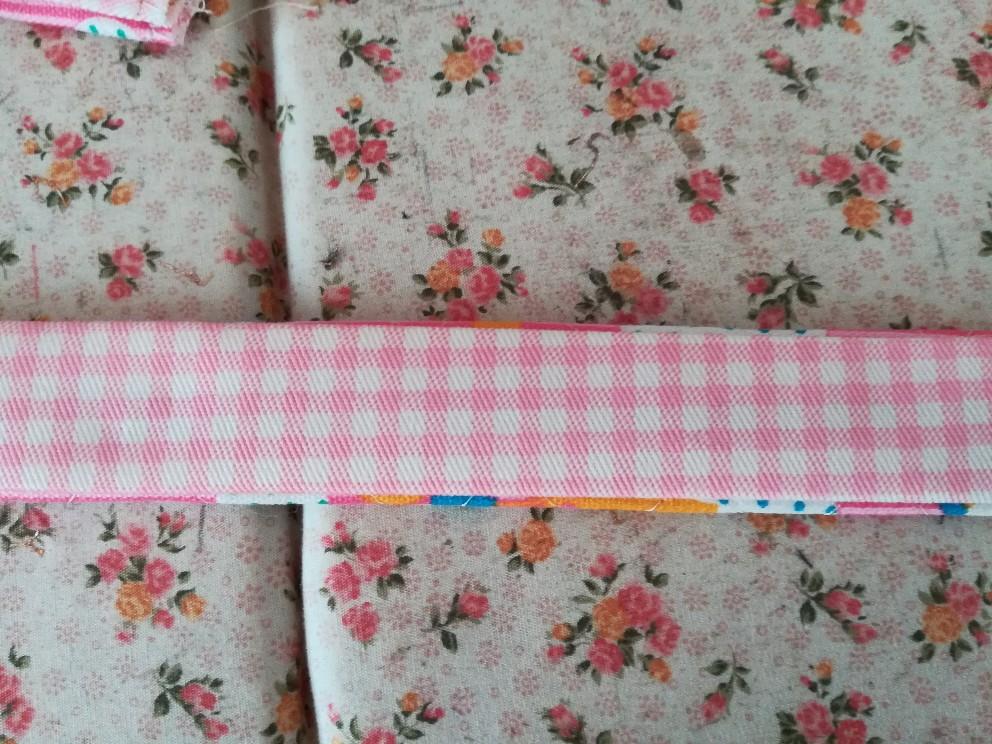 上履き入れの簡単な作り方手順:持ち手を作る③表布と内布を重ね合わせる