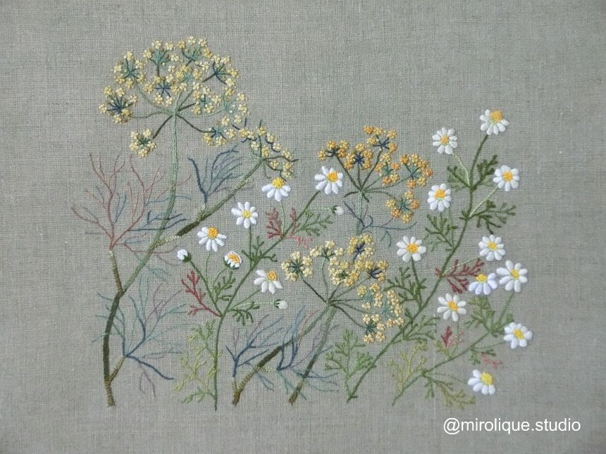 herb embroidery on linen