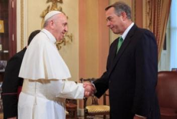 Former Speaker of the House, John Boehner, welcomes Pope Francis to the U.S. Capitol. Photo by Speaker John Boehner via Flickr creative commons.