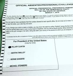 A photo of my absentee ballot from Dekalb County, Georgia (and the candidate I am voting for!)