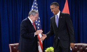 Barack Obama and Raúl Castro shake hands at a bilateral meeting at the UN Credit: Getty Images