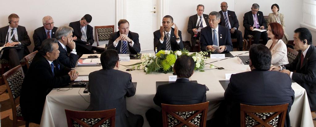 President Obama meeting with world leaders at the TPP Partnership meeting in Yokohoma, Japan (2010).