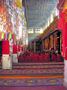 Monks gather in the great assembly hall at Drepung Monastery, Tibet. https://flic.kr/p/4nvgta