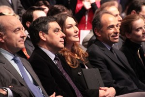 Conservative primary candidates Alain Juppé, François Fillon, and Jean-François Copé with the wife of then-President (and candidate again) Nicolas Sarkozy. https://flic.kr/p/bw24W2