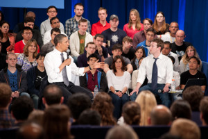 Former President Barack Obama and Facebook founder and CEO Mark Zuckerberg at a Facebook Town Hall in 2011. Photo Credit: Barack Obama (Flickr Creative Commons).