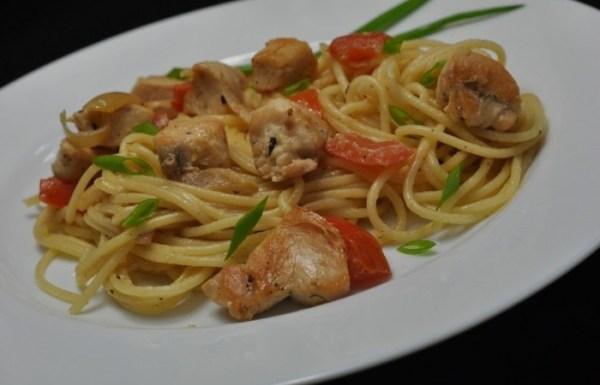 Спагетти с курицей и овощами - пошаговый рецепт с фото