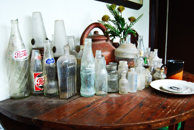 Old bottles Mr. Pio Goco found at a nearby imburnal