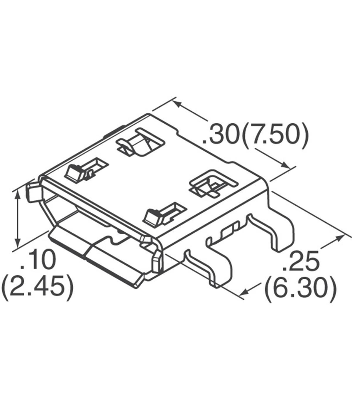 micro usb b receptacle smt ra 5way