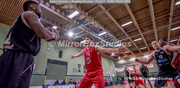 England Basketball, NBL Division 1 - 11 February, 2017 - Fleming Park Leisure Cent. : Daniel Carter (13) defending during match between Solent Kestrels and Reading Rockets (Photo by NGS/MirrorBoxStudios)