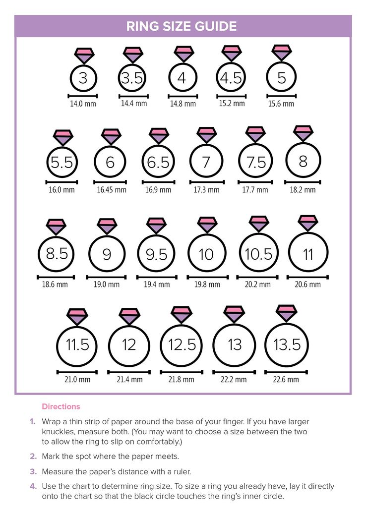 Ring Size Chart Mirror Kingdom