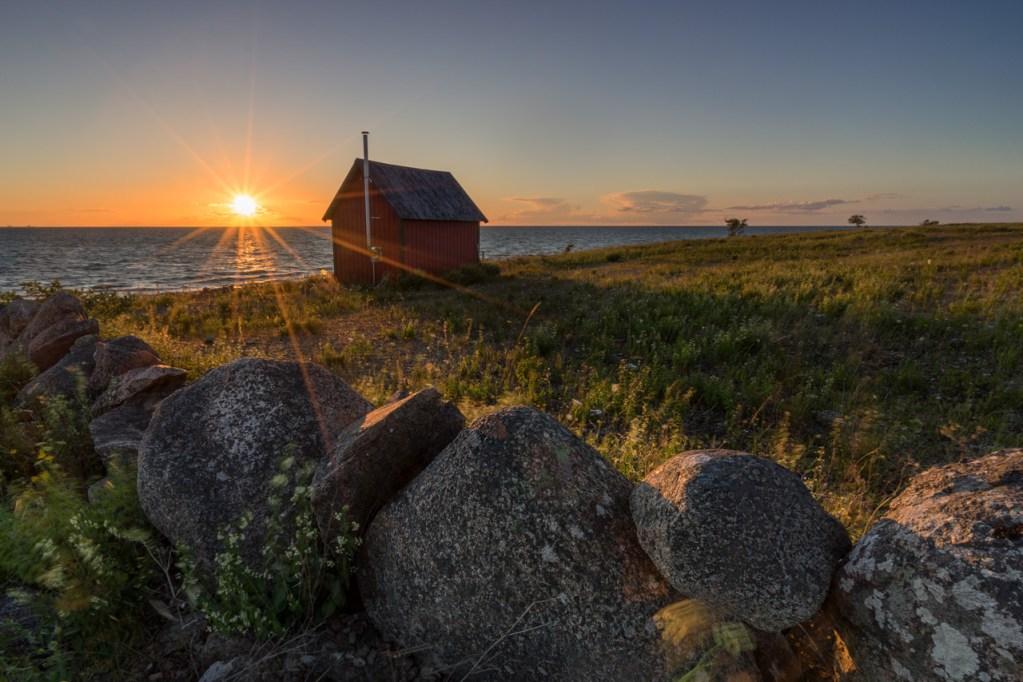 Neptuni Åkr in Schweden bei Sonnenuntergang