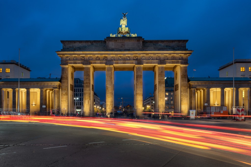 Das Brandenburger Tor am Leipziger Platz in Berlin.