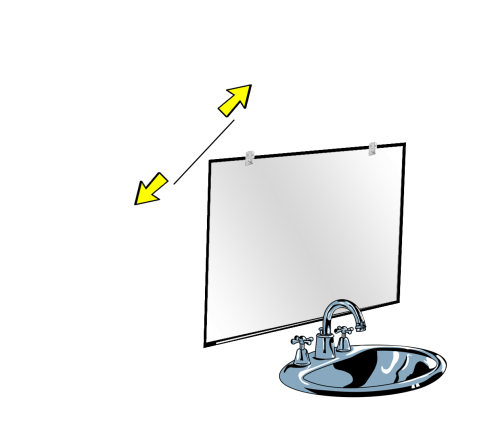 remove a mirror on wall by using wire